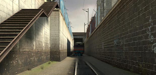 A train line shortly after you start the game