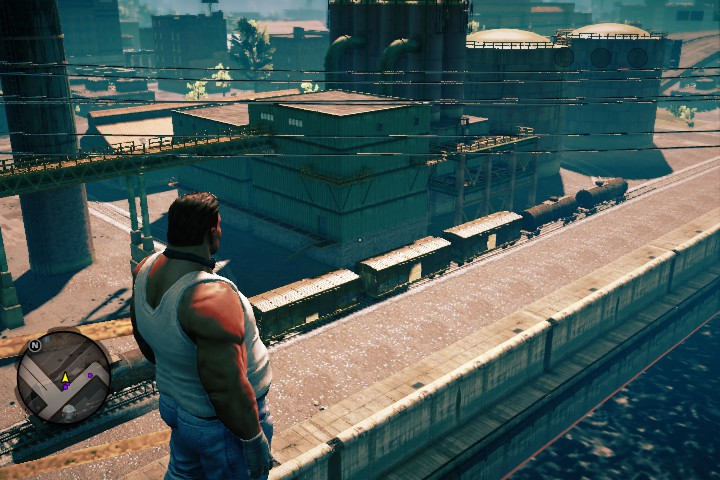 A bad guy looking over the docks.
